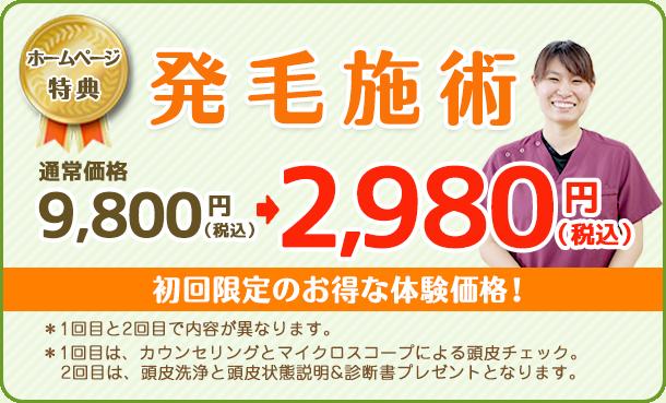 発毛施術初回カウンセリング、1日限定2名様2980円