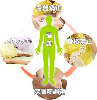 鹿児島市まつだ整骨院:骨盤矯正×深層筋調整の施術方法の図
